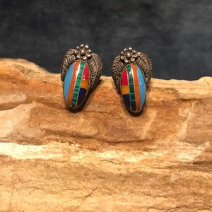 Jewelry - Native American Sterling & Stone Inlay Earrings